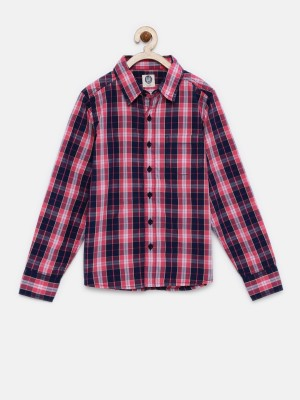 Yk Boy's Checkered Casual Pink Shirt
