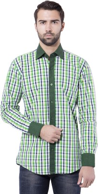Tag & Trend Men's Checkered Casual Green Shirt