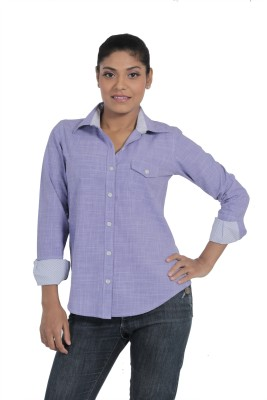 Fast n Fashion Women's Solid Casual Blue Shirt