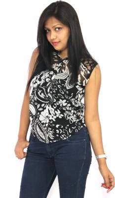 Aussehen Women's Printed Casual Black Shirt