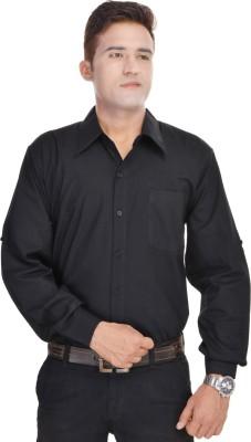 Kalrav Men's Solid Formal, Casual Black Shirt
