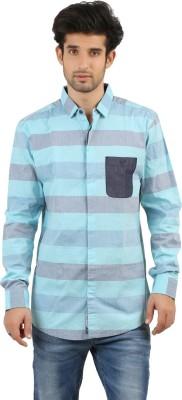 EINSTEIN Men's Striped Casual Blue Shirt