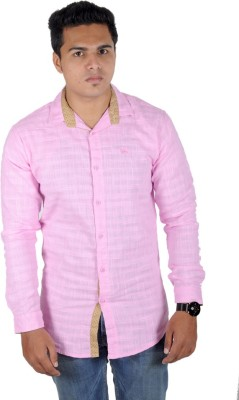 Yomaa Men's Solid Casual Pink Shirt