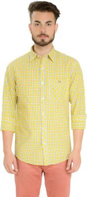 Club X Men's Checkered Casual Yellow, White Shirt