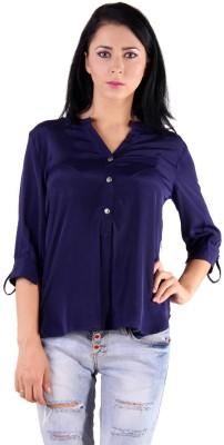 GUGG Women's Solid Casual Blue Shirt