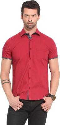 Leo Sansini Men's Solid Casual Red Shirt