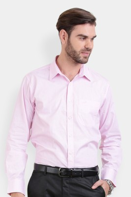 Crocodile Men's Solid Formal Pink Shirt