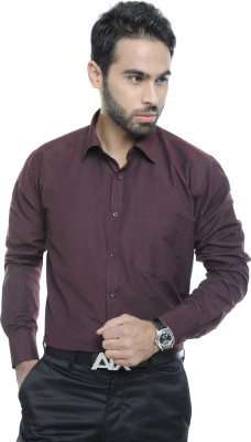 City Style Men's Solid Formal Brown Shirt