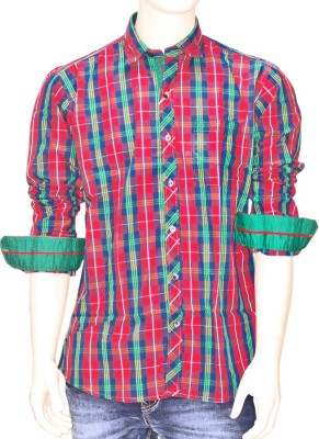 Exin fashion Men's Checkered Casual Red, Green Shirt