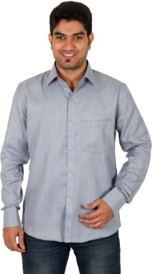 Green Apple Men's Solid Formal Grey Shirt