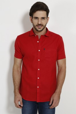 SIN Men's Solid Casual Linen Red Shirt