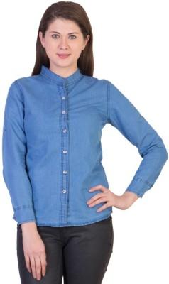 Beautic Women's Self Design Formal Denim Blue Shirt