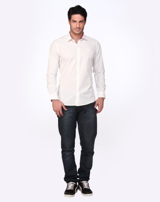 Fire & Ice Men's Solid Casual White Shirt