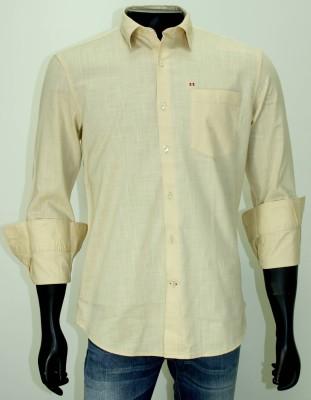 Enryca Men's Solid Casual Beige Shirt