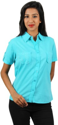Old Khaki Women's Solid Casual Blue Shirt