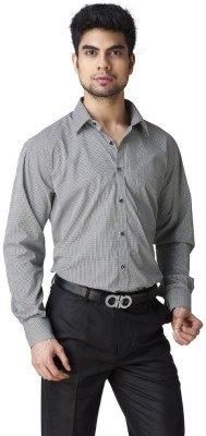 Warewell Men's Checkered Formal Black Shirt