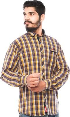 LWW Men's Checkered Casual Yellow, Black Shirt