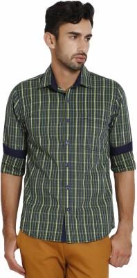 I-Voc Men,s Checkered Casual Dark Blue, Green Shirt