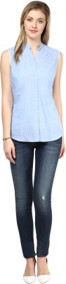 LY2 Women's Solid Casual Blue Shirt
