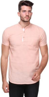 Scapes Men's Solid Casual Orange Shirt