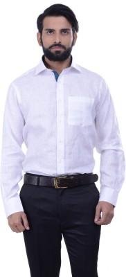 Alpha Centauri Men's Solid Casual Linen White Shirt