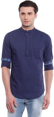 Shiksha Men's Solid Casual Blue Shirt