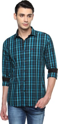 British Club Men's Checkered Casual Blue, Black Shirt