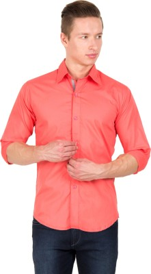 Tuscans Men's Solid Casual Pink Shirt