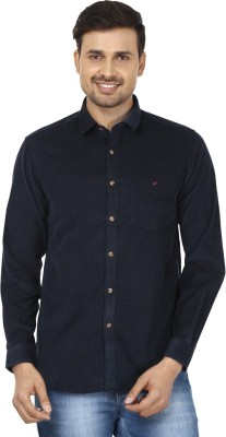 Wills Lifestyle Men's Solid Casual Blue Shirt