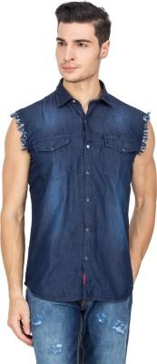 Le Bison Men's Solid Casual Blue Shirt
