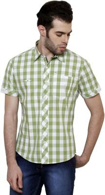 True Tittos Men's Checkered Casual Green, White Shirt