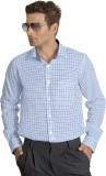 Willmohr Men's Checkered Formal Blue Shi...