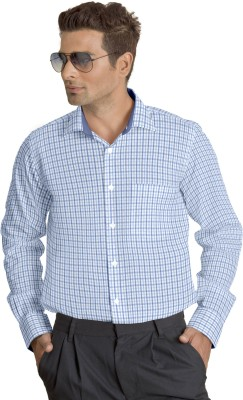 Willmohr Men's Checkered Formal Blue Shirt