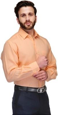 VDE Men's Solid Formal Orange Shirt