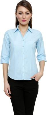 Fellows International Women's Solid Formal Light Blue Shirt