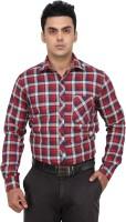 Fluteman Formal Shirts (Men's) - Fluteman Men's Checkered Formal Maroon Shirt