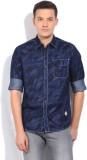 Lee Men's Printed Casual Dark Blue Shirt