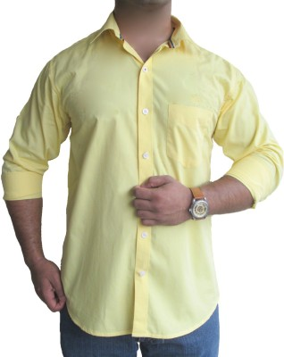 SOLEN Men's Solid Formal, Wedding, Casual, Party Yellow Shirt