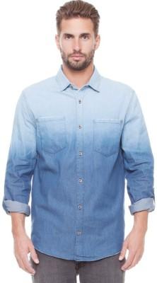 Nana Judy Men's Solid Casual Denim Blue Shirt