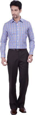 Validus Men's Checkered Formal Blue Shirt