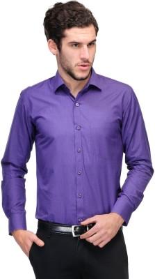 Nexq Men's Solid Formal Purple Shirt