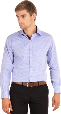 I-Voc Men's Checkered Formal Purple Shirt