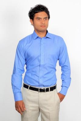 Green Bows Men's Solid Formal Blue Shirt