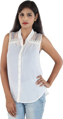 Aimeon Women's Solid Casual White Shirt