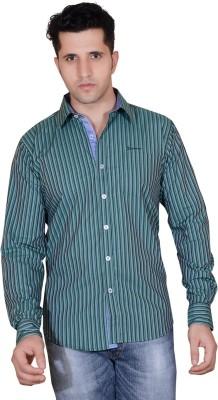 Denimize Men's Striped Casual Dark Green Shirt