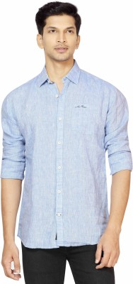 La Seven Men,s Solid Casual Linen Blue Shirt