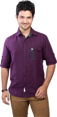 Ecohawk Men's Solid Casual Purple Shirt