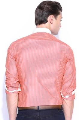 Mast & Harbour Men's Striped Formal Red Shirt