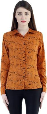 Belly Bottom Women's Animal Print Casual Orange Shirt