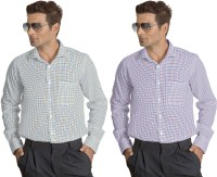 Willmohr Formal Shirts (Men's) - Willmohr Men's Checkered Formal Yellow, Pink Shirt(Pack of 2)